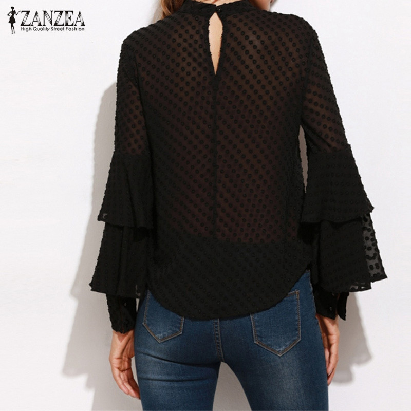 3f835c0876cdc5 ZANZEA Brand Women Blouses 2018 Fashion Ruffles Long Sleeve Solid Shirts  Casual See Through Black Blusas Plus Size Tops Tees