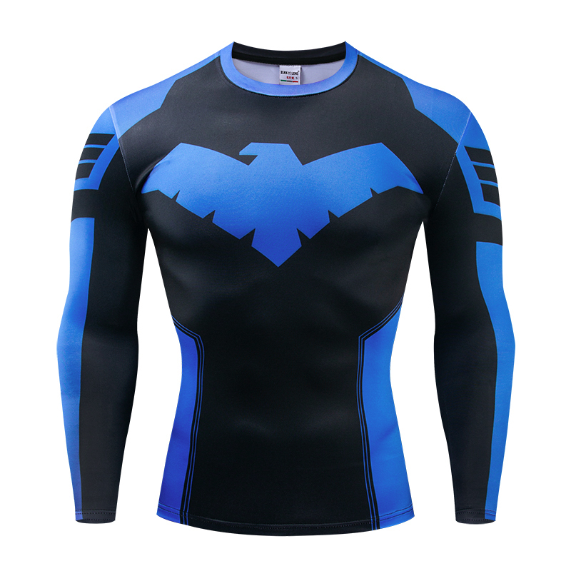 2019 New Nightwing 3D Printed T-shirts Men Long Sleeve Cosplay Costume Fitness Clothing Male Tops Halloween Costumes For Men Pri