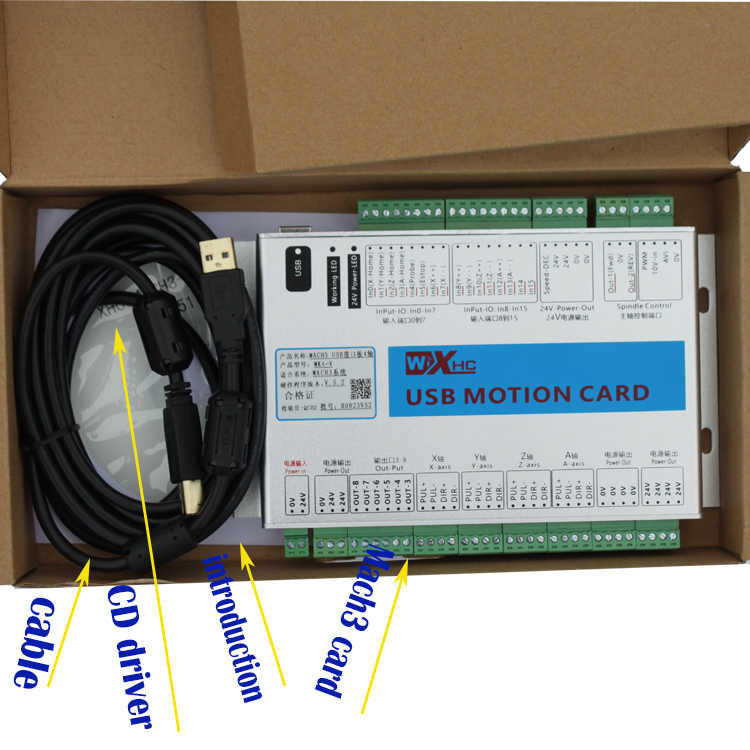 New Upgrade XHC MK4-V 5TH generation CNC Mach3 USB 4 Axis Motion Control  Card Breakout Board 2MHz Support Windows 7, 10