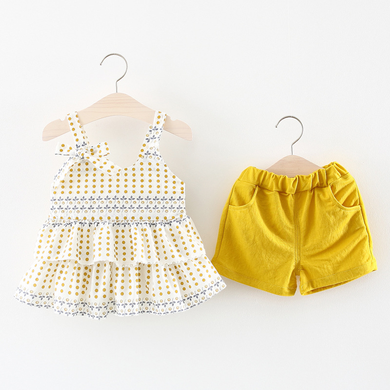 Girls Clothes New Summer Newborn Baby Girl Clothes Sling Printed Cake Dress+Shorts Cotton 2Pcs Outfits For Kids Clothing Sets summer baby girl clothes newborn 3 piece clothing sets kids infant outfits suit girls bodysuit romper skirt headband