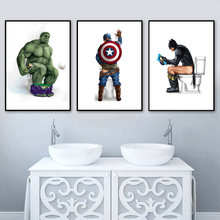 Wonder Woman Captain America Hulk Spider-Man Wall Art Canvas Painting Nordic Posters And Prints Wall Pictures For Bathroom Decor(China)
