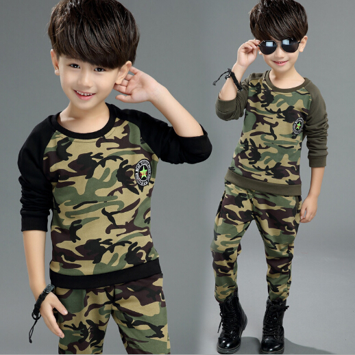 2017 Spring Autumn Children Camouflage Clothing Set Boys Long Sleeve Military Uniform 2 Pcs Kids Spliced Sport Suit Tracksuit boys camouflage sports suits 2017 new autumn cotton boys long sleeve sportswear 2 pcs set children clothing 3 5 7 9 11 14 y 6