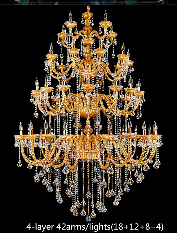 Bohemia Big Large Gold Champelne Crystal Chandelier For Church Hotel - Ներքին լուսավորություն - Լուսանկար 2