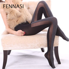 FENNASI Women's Autumn Winter Patchwork Sexy Pantyhose Velvet Vertical Striped Women Tights Warm Thick Female Erotic Black Tight(China)