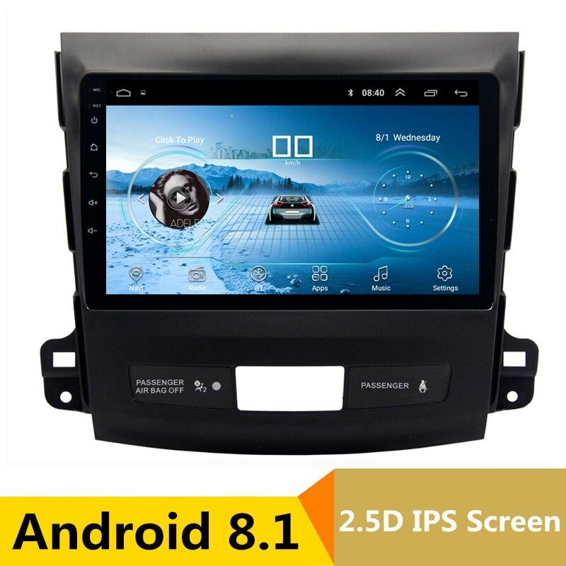9 2.5D IPS Android 8.1 Voiture DVD Lecteur Multimédia GPS pour Mitsubishi Outlander 2006-2012/Peugeot 4007 radio stéréo navigation