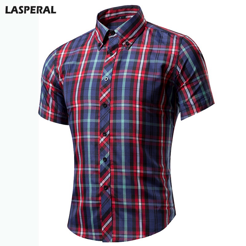 LASPERAL Brand Short Sleeve Plaid Mens Dress Shirts Casual Turn-Down Collar Summer Shirt Classic Business Male Shirts Plus Size