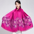 Hot Pink Chinese Style Traditional Reversible Encryption Two-Face Female Cotton Scarf Printed Rose Long Shawl Dropshipping