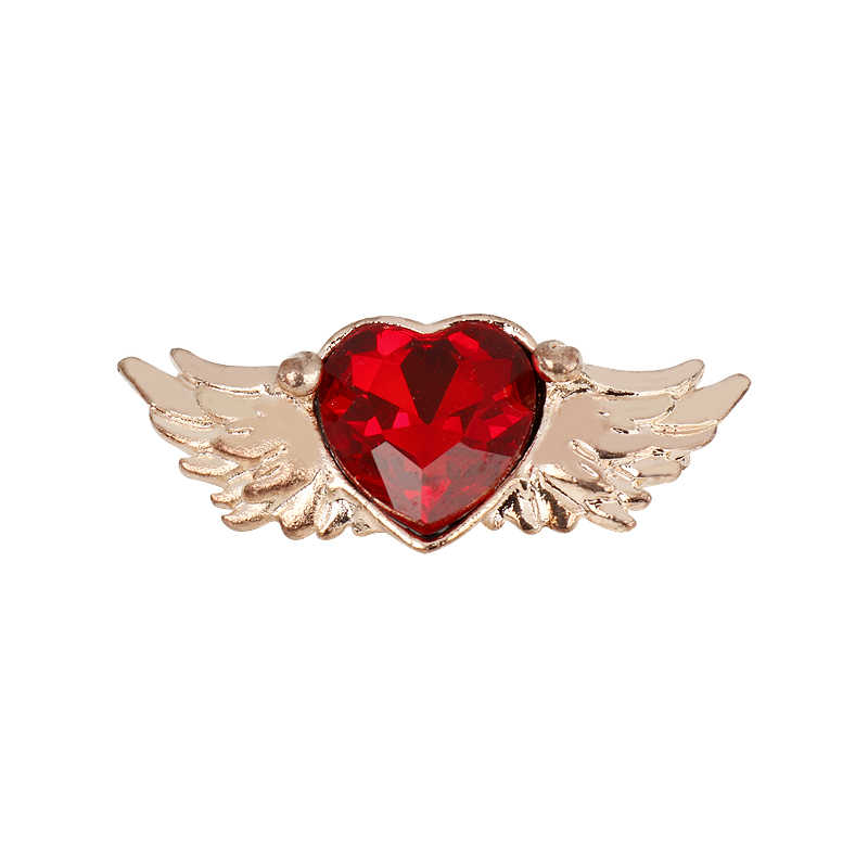 MQCHUN Fashion Romantic Red Crystal Angel Wing Love Heart Brooches Pins Hot Anime Sailor Moon Jewelry Women Girls Gift Cosplay