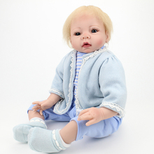 Toddler Boy Alive Real Lifelike Reborn Babies Doll Blonde Hair Stuffed Body 22 Inch