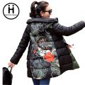Women's Winter Jacket  2016 New  Parka Plus Size Slim Ladies Casual Clothing flower military hooded coat thichening cotton