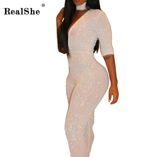 RealShe 2017 Rompers For Women Vogue Brand V Neck Long Sleeve Jumpsuit Woman Latest Sexy Sequins Club White Jumpsuit