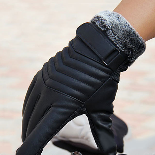 1Pair Men Synthenic PU Golves Winter Warm Five Finger Wrist Gloves Cut Wool Thicken Touches Screen Fur Mittens  FDC99