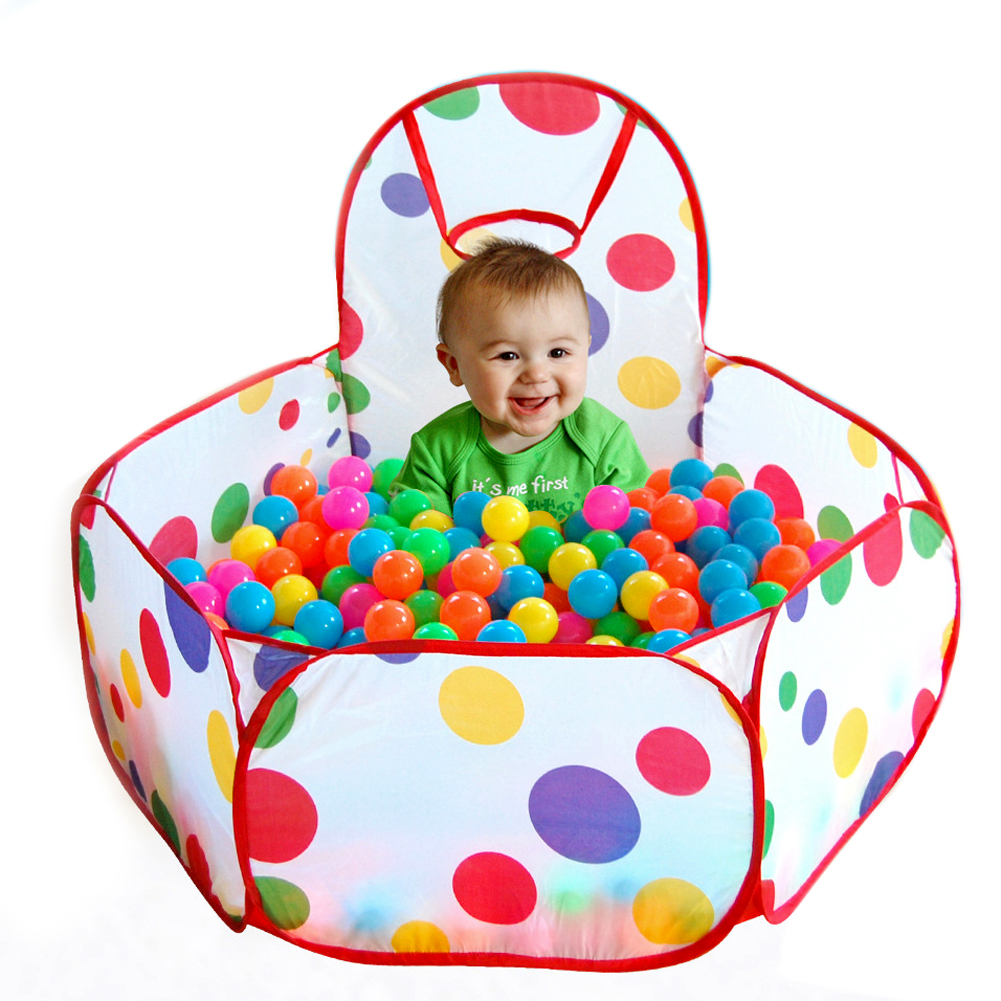 100PCs Ball Game Pit Folding Kids Ocean Tent Playpen Pool Portable Barn Spel Play Tent Playing House Tent Och boll från varandra