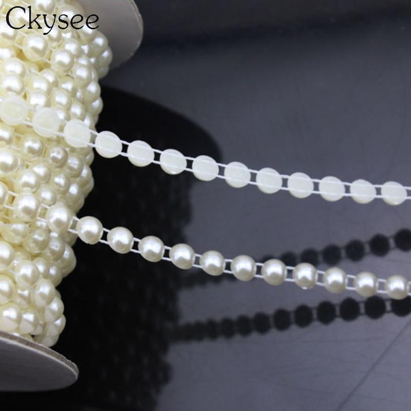 Ckysee 5 м 1 рулон 14 мм Имитация Круглый плоской задней жемчужные бусы цепи для Цепочки и ожерелья DIY Свадебная вечеринка украшения питания
