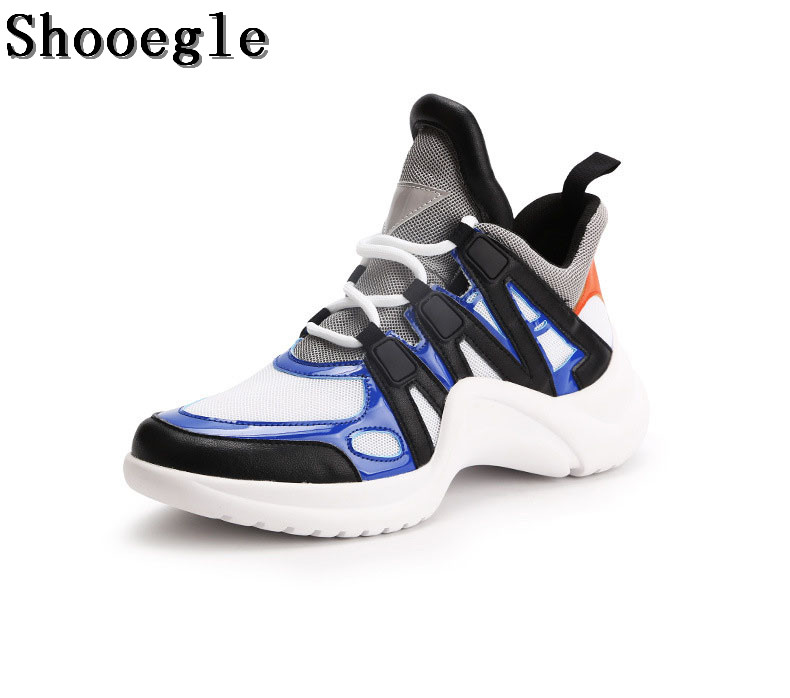 SHOOEGLE Newest Men Runway Platform Sneakers Fashion Mesh Patchwork Lace Up Skateboarding Shoes Casual Outdoor Shoes Unisex fashion designer famous brand air mesh glossy men casual shoes summer outdoor breathable durable lace up unisex fashion shoes