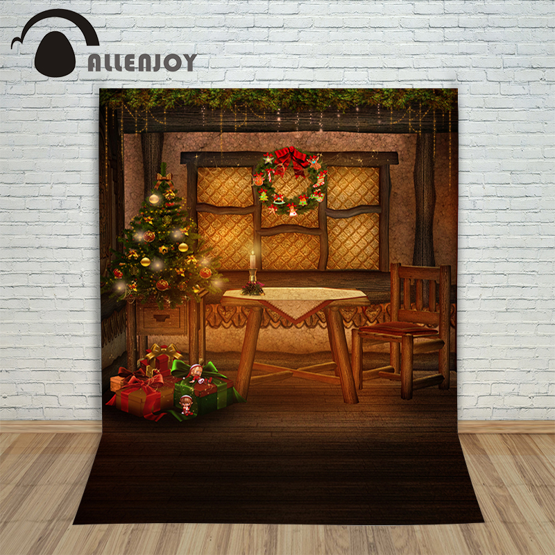 Christmas background vinyl Gift cle table chair window new born photo studio professional photography background pictures