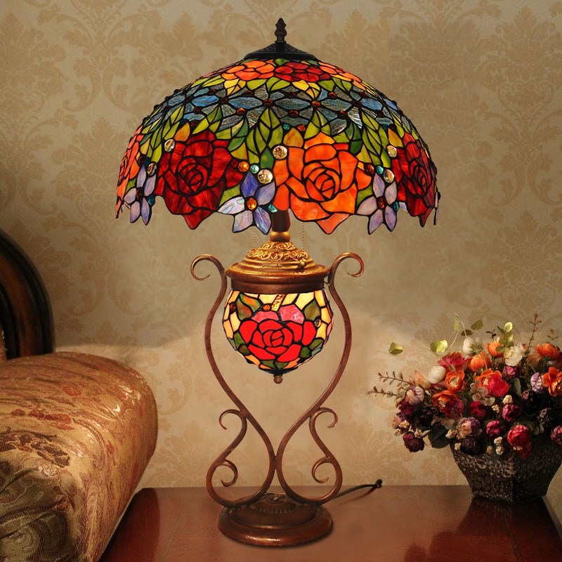 light cluster living room European style garden painting like imitation of classical art glass Table Lamps LO71813