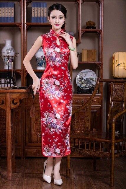 9218b5bf694b Shanghai Story Faux di Seta cinese tradizionale lunghi abiti senza maniche  del vestito dal cheongsam di