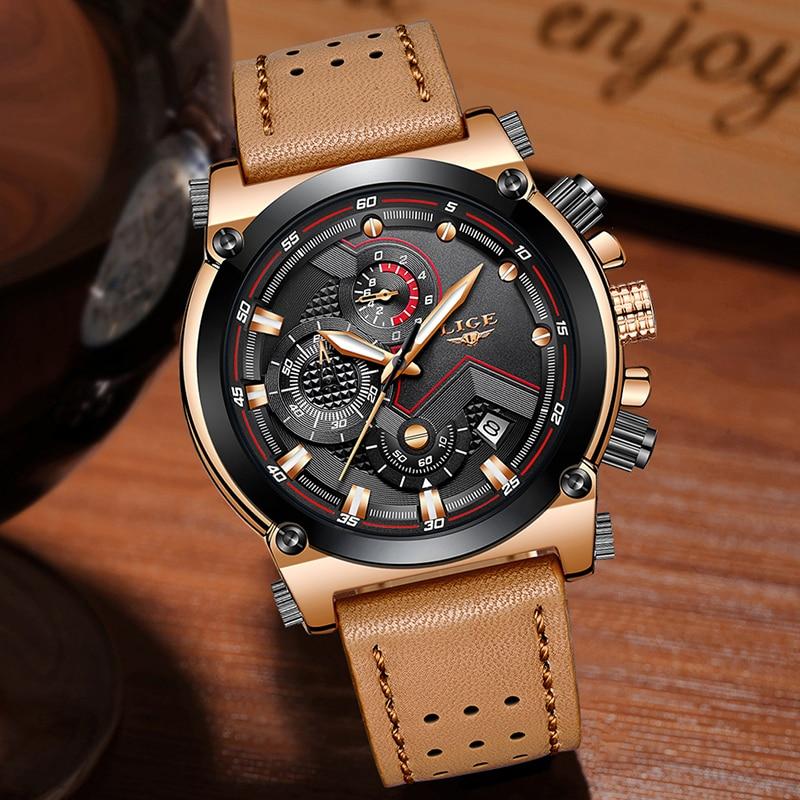 LUCHT Horloge Herenmode Sport Quartz Grote Wijzerplaatklok Lederen - Herenhorloges - Foto 3