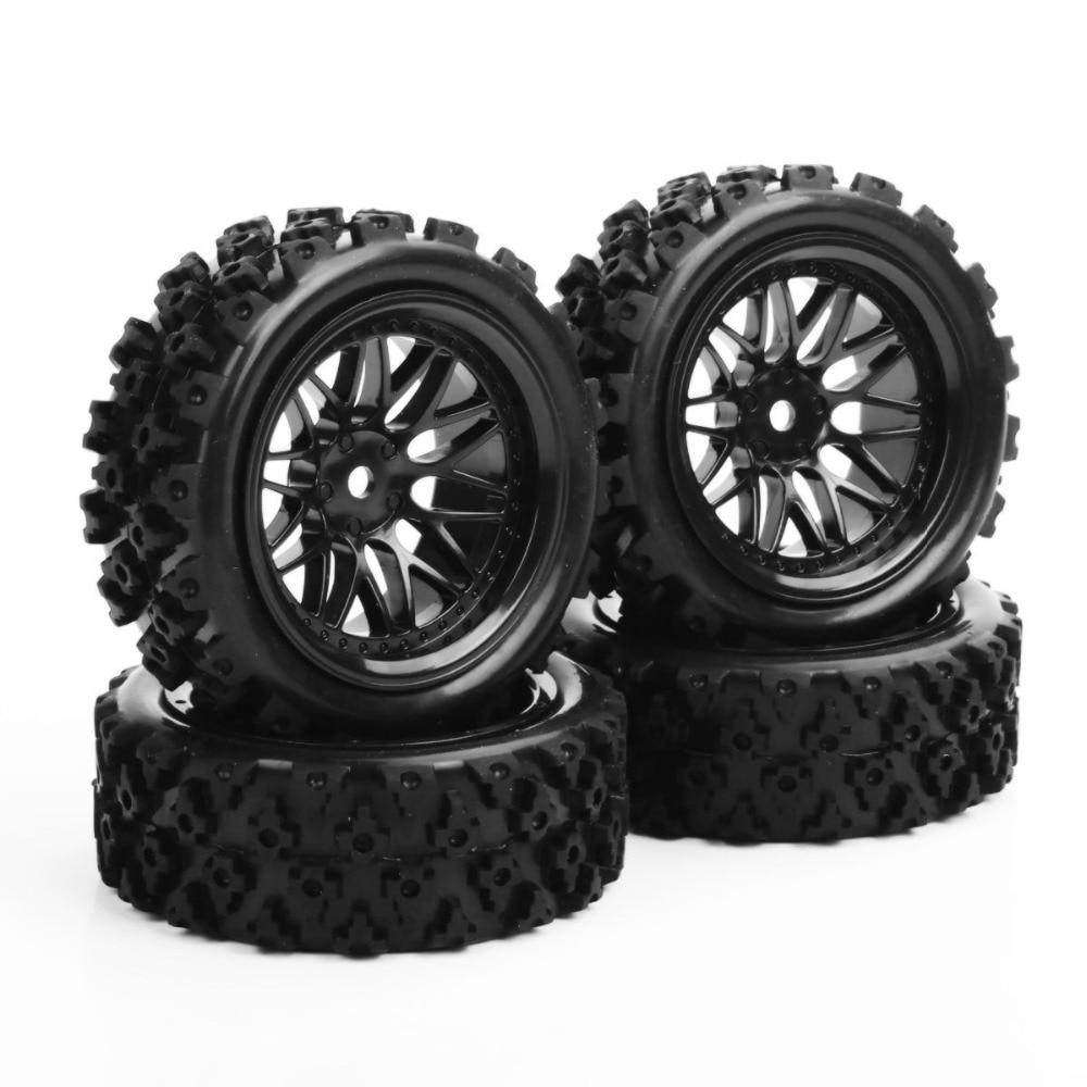где купить 4 Pcs/Set Rubber Tires Wheel 12mm Hex Rally Racing 1/10 RC Off Road Car Vehicle Tyre Tires &Wheel Rim PP0487+BBNK In Stock E по лучшей цене