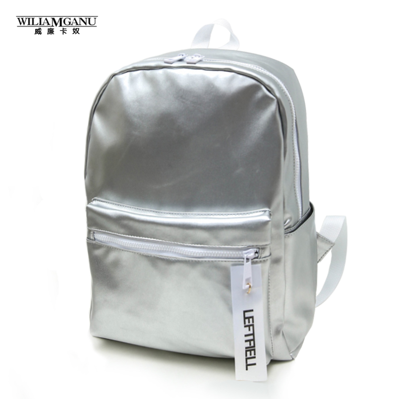 WILIAMGANU 2017 New Arrival Glossy Backpack Girl Glossy Backpack School Bag Women Rainbow Colorful Silver Glossy  Backpack