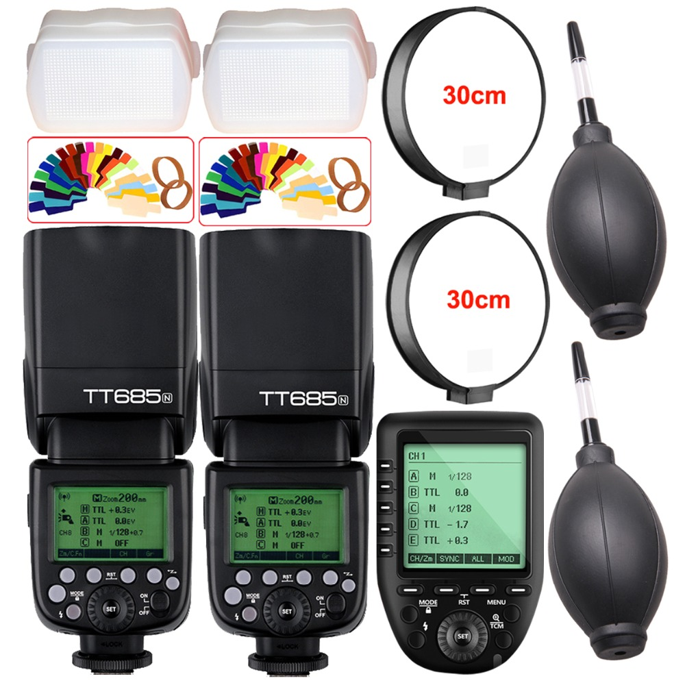 2X Godox TT685 TT685N 2.4G Wireless HSS 1/8000s i-TTL Camera Flash Speedlite + XPro-N TTL Trigger for Nikon DSLR Camera meike mk 950ii n gn58 ttl wireless trigger remote flash speedlite for nikon dslr black