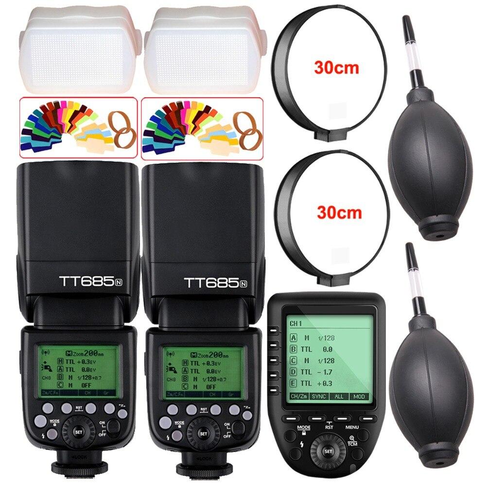 2X Godox TT685 TT685N 2.4G Wireless HSS 1/8000 s i-TTL Flash Della Fotocamera Speedlite + XPro-N TTL Trigger per Nikon DSLR Camera