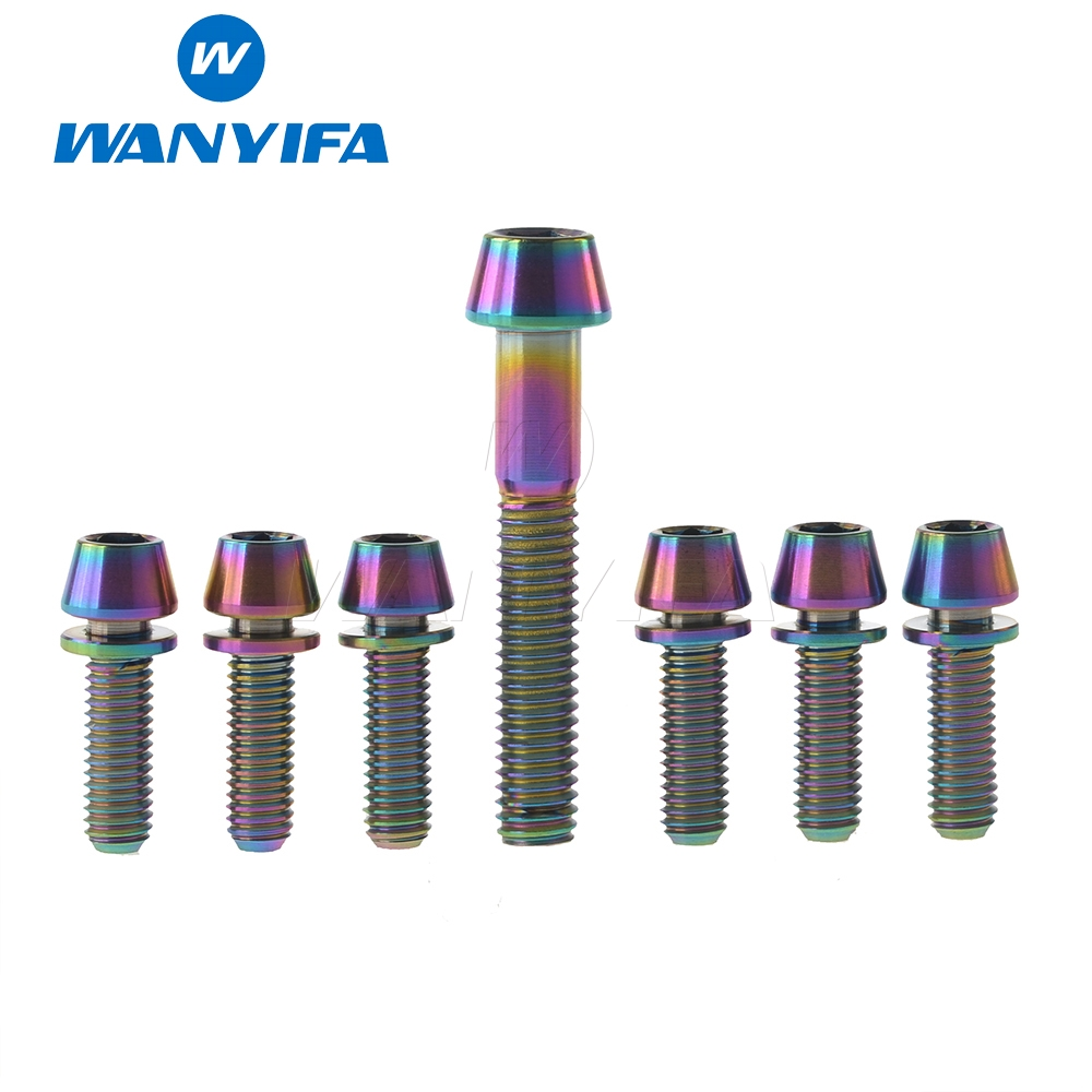 Wanyifa Titanium Ti Upgrade Kit Bolt ScrewM5 x 16 18 20mm Conical Head With Washer for Stem + M6x35 For Headset Caps wanyifa titanium ti upgrade kit bolt screwm5 x 16 18 20mm conical head with washer for stem m6x35 for headset caps