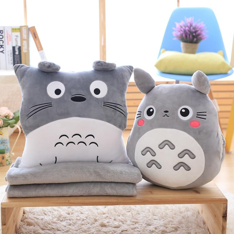 Totoro Plush Pillow Multifunction 3 in 1 Throw Pillow Totoro Hand Warm Pillow Cushion Baby Kids Blanket Stuffed Anime Figure Toy