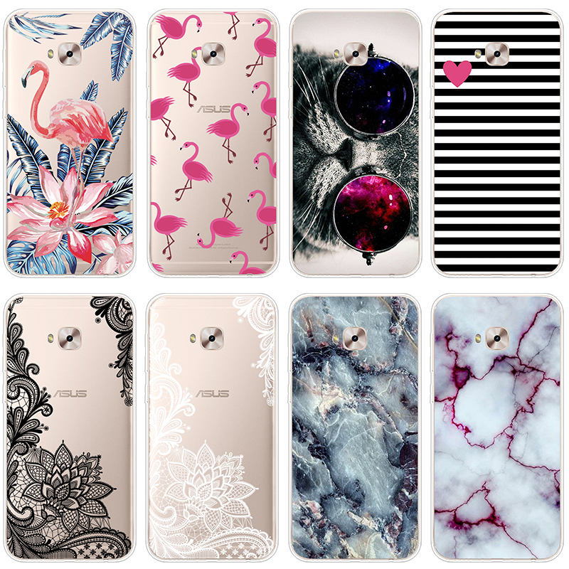 Flamingo Pattern TPU <font><b>Cases</b></font> FOR Fundas <font><b>Asus</b></font> <font><b>Zenfone</b></font> <font><b>4</b></font> <font><b>Selfie</b></font> Pro ZD552KL <font><b>Case</b></font> Marble Thin Soft Transparent Capa Back Bags Coque image