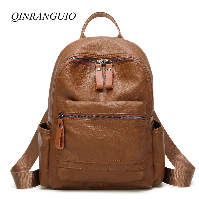 QINRANGUIO Soft Leather Backpack 2018 Backpack Women High Quality Leather Backpack for Teenage Girls Mochila Feminina стоимость