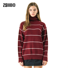 6368708f4 Sweaters winter female new large size Turtleneck knit women striped fashion  loose long sleeve Vintage Pullovers · 6 Colors Available