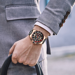 Image 4 - MINI FOKUS herren Wasserdichte Business Uhren Chronograph Quarz Leuchtende Armbanduhr für Mann Edelstahl Band Schwarz MFS0218