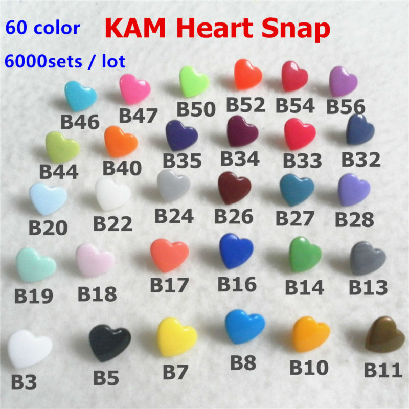 ( 60 Color ) DHL 6000sets KAM Heart Plastic Resin Snaps Buttons Fasteners For Baby Cloth Diaper Bib XT 502 1000sets Per Color