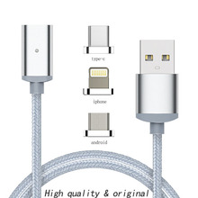 1M Fast Charging Data Sync Newest 1m Nylon magnetic Cable Micro Usb C Charger for IPhone 5 6 6s 7 7plus Android type-c Phone