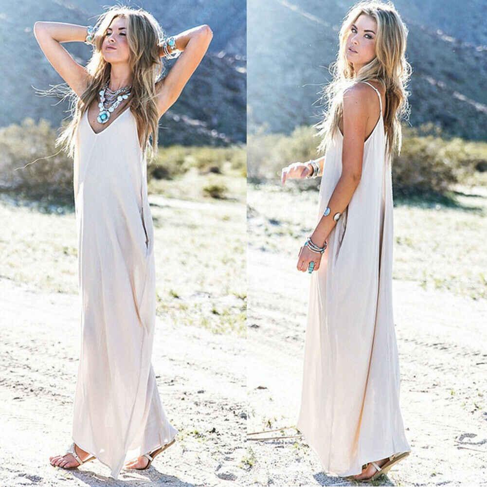 Femmes robe pure blanc arrivée sexy fronde profonde col en v femmes long mélange de coton
