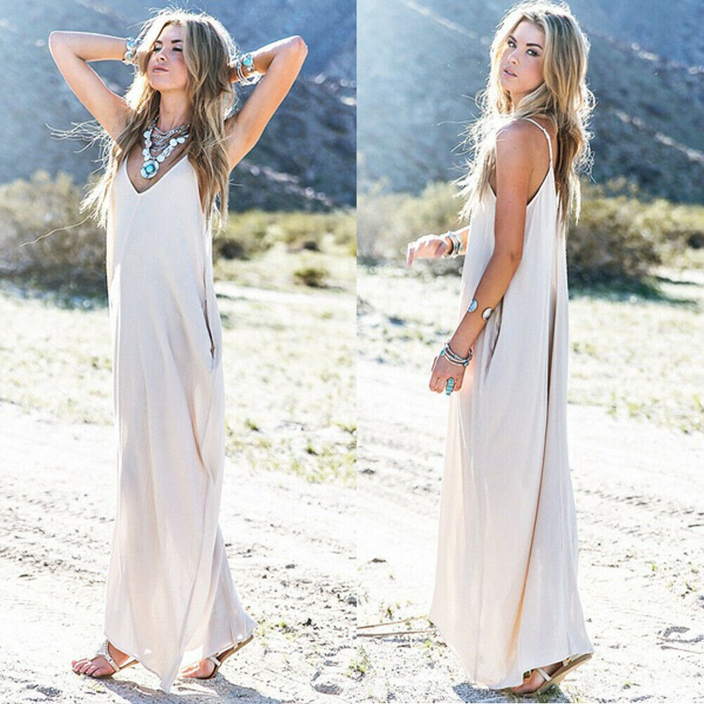 women <font><b>dress</b></font> pure white arrival <font><b>sexy</b></font> sling <font><b>deep</b></font> <font><b>V</b></font>-neck Women's long Cotton Blend платье de noche image