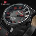 Naviforce marca de lujo del cuarzo de los hombres deportes relojes hombres analógico fecha reloj hombre correa de cuero reloj militar relogio masculino