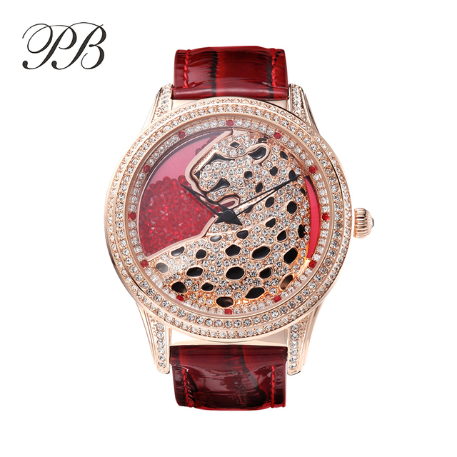 Stylish PB Luxury Brand Cheetah Watch Stylish Women leopard Watch Rhinestone Sapphire Glass Genuine Leather Strap Waterproof