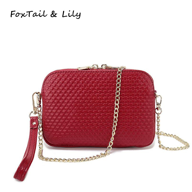 FoxTail & Lily Cute Heart Shaped Pattern Design Genuine Leather Women Chain Messenger Crossbody Bag Fashion Mini Shoulder Bags