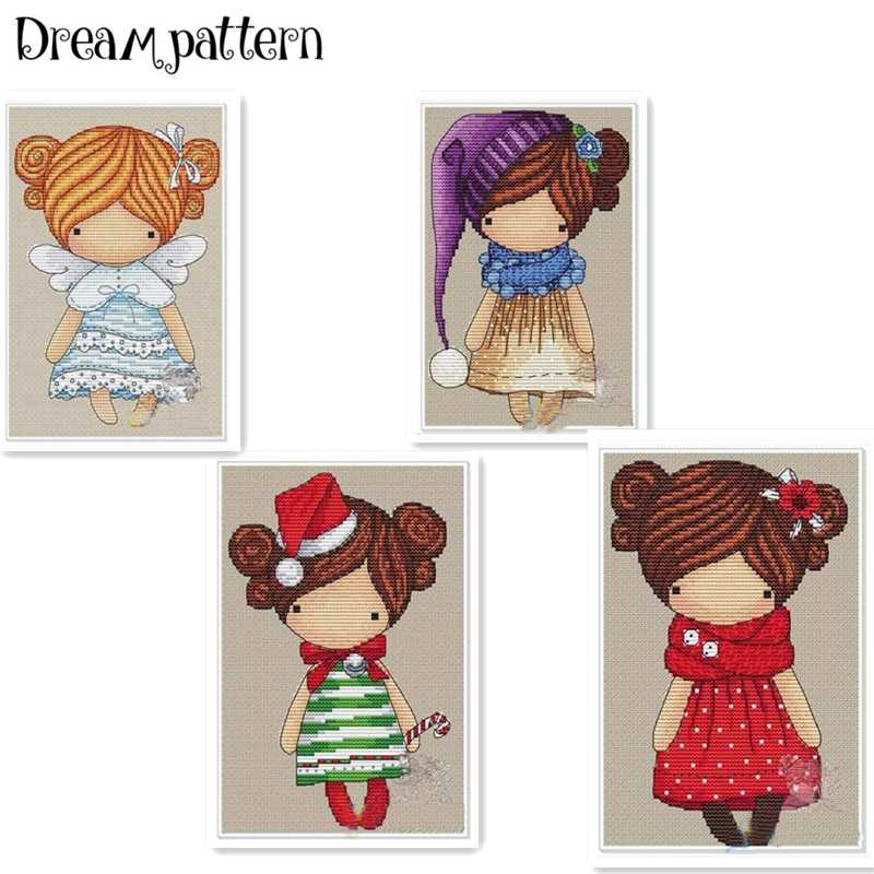 The poppy girl cross stitch package magic doll DMC linen aida 14ct 11ct flaxen cloth kit embroider DIY handmade needlework