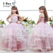 Organza Pink Pageant Gowns Satin Flower Girls Dresses Glitz Pageant Dresses For Little Girls Ball Gown Dresses Communion Gown