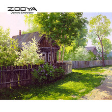 5D DIY Diamond Painting Crystal Diamond Painting Cross Stitch Needlework Green Lawn Garden Landscape Home Decorative BJ721
