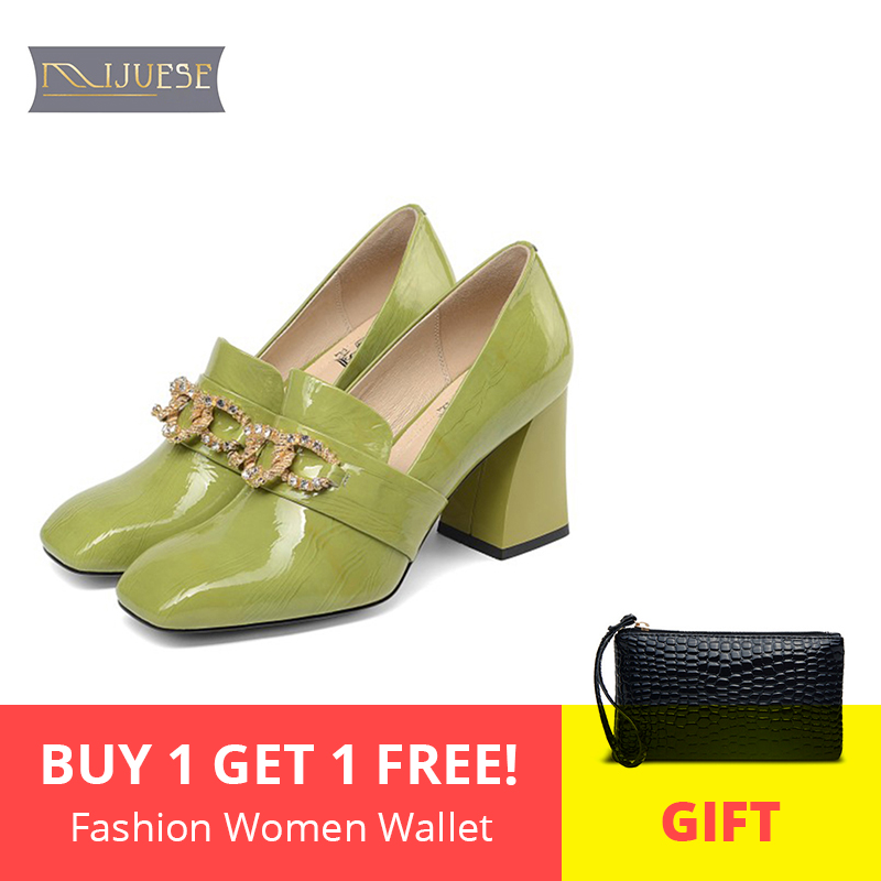MLJUESE 2019 women pumps autumn spring cow leather crystal Rome style green color slip on high