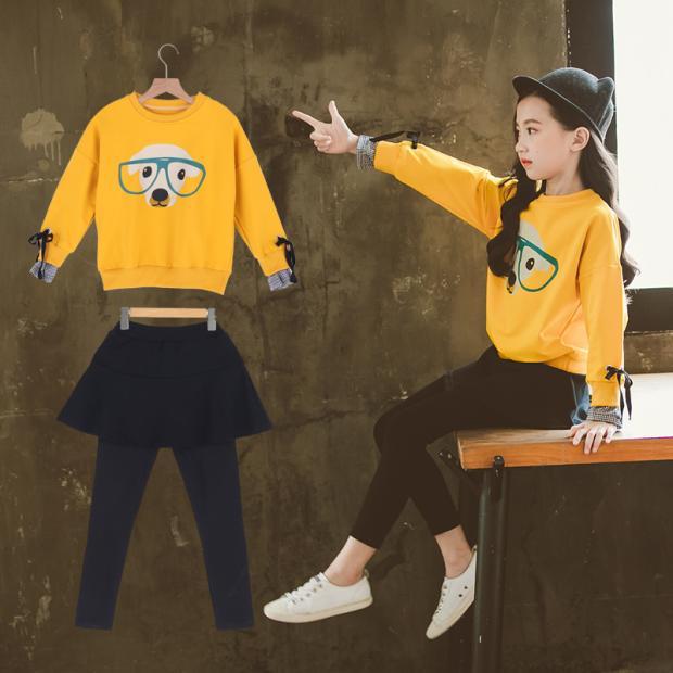 2018 Autumn Teenage Girls Clothing Sets Skirt Leggings + long Sleeve Cartoon Print Sweatshirts Fashion Girls Clothes Set Costume недорого
