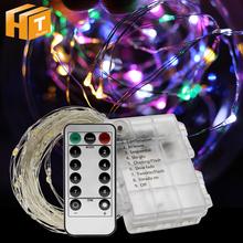 Oświetlenie świąteczne String bateria działa 5m 50LED 10m 100LED dekoracja wnętrz lampki świąteczne girlanda żarówkowa LED tanie tanio Hunta CN (pochodzenie) CHRISTMAS Z tworzywa sztucznego Żarówki led Brak Other Suche baterii 500inch 1-5 m MULTI 51-100 głowy