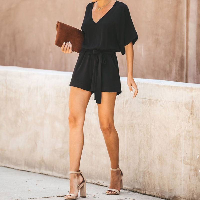 Loose Casual Playsuits Women Short Sleeve Lace Up One Piece Rompers High Waist Bandage Summer Short   Jumpsuit   Femme Overalls