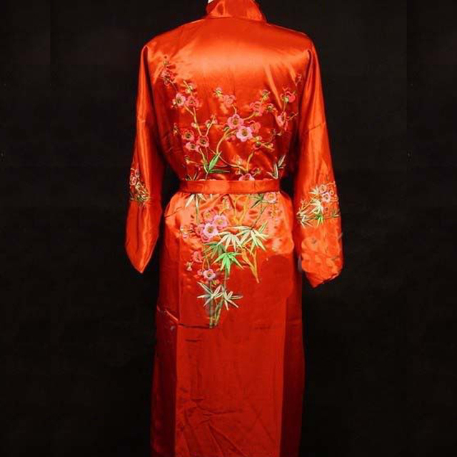 New Red Chinese Women s Silk Robe Gown Novelty Embroidered Sleepwear Kimono  Yukata Gown Flower S M L XL XXL XXXL 0121 9739fc5e8