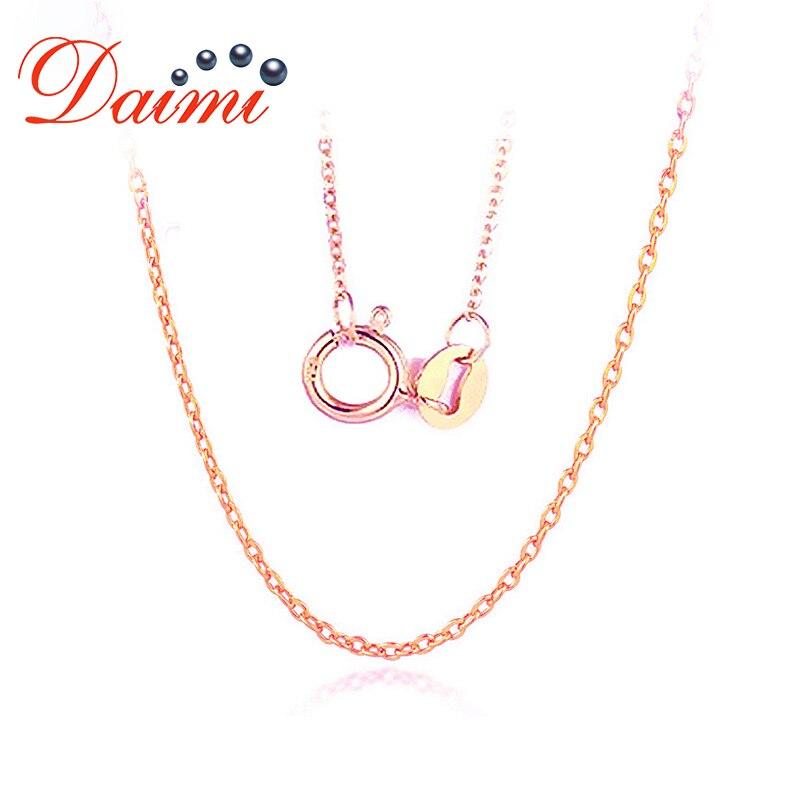 DAIMI 18 K collier en or Rose 18 K chaîne en or pur collier bijoux fins à la mode bijoux en or véritable chaîne de base