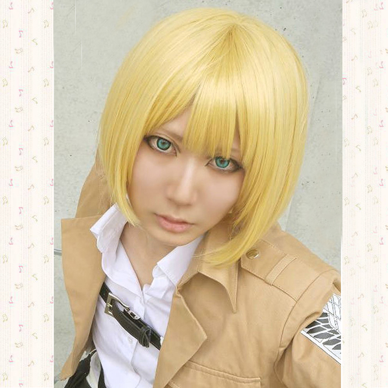 Animation Attack on Titan Cosplay Wigs Armin Arlart Golden Women Bob Short Hair Synthetic Cosplay Costume Wigs + Free Wig Cap